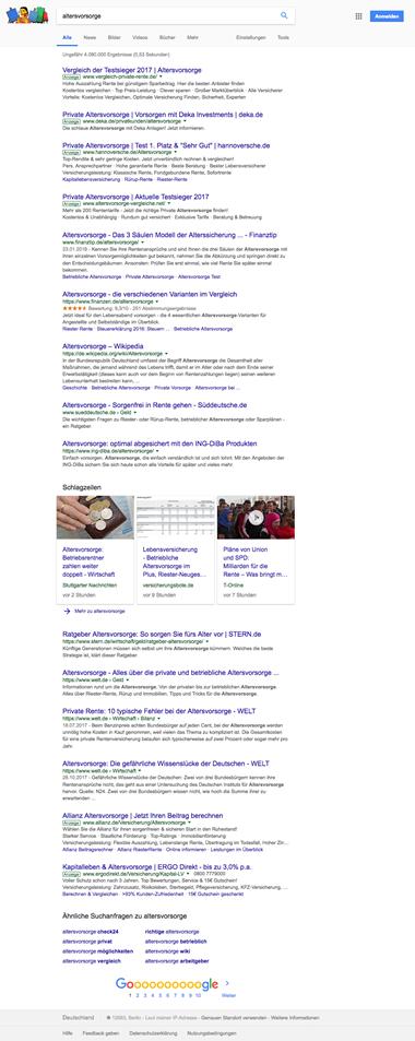 Abbildung 1: Suchergebnisseite 1 zum Suchbegriff