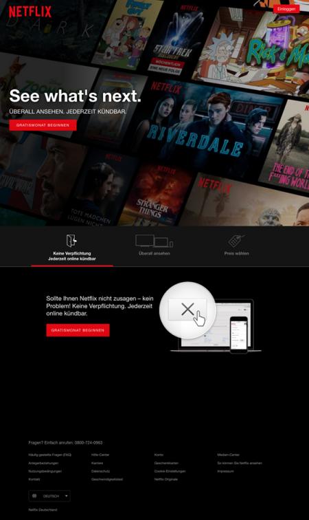 Abbildung 4: Netflix weist alles auf, was ein nutzerfreundliches, optisch ansprechendes, klar strukturiertes Webdesign braucht.