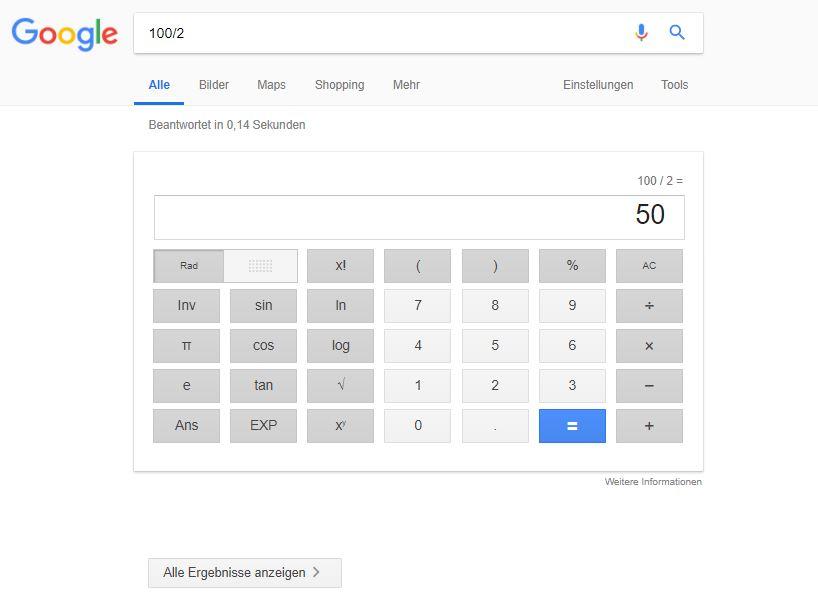 google suchergebnis answer box taschenrechner