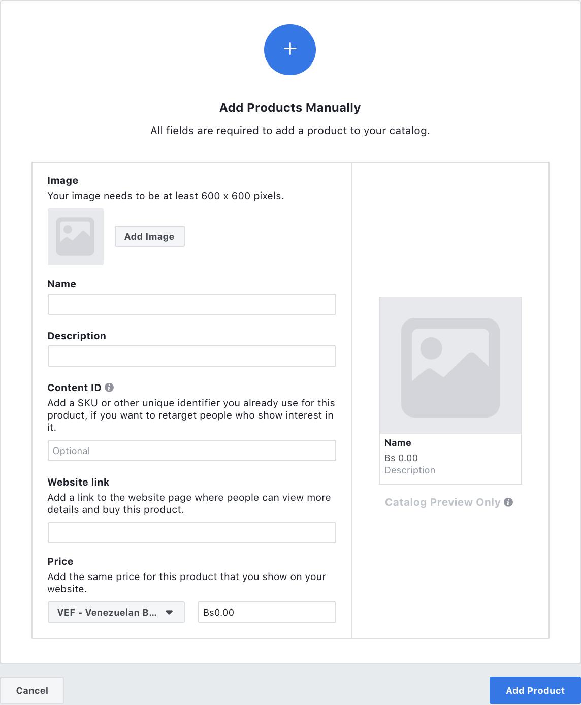 Facebook Produktkatalog