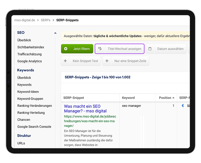 SEO News 08.2021 –Sistrix Toolbar Titel-Wechsel Funktion